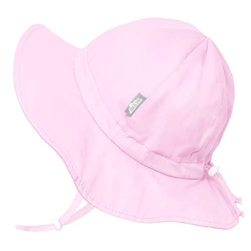 Kids Foldable Summer Sun-Hat 50 UPF, Drawstring Adjustable, Stay-on Chin Strap (L: 2-5Y, Pink) ()