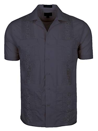 - TrueM Men's Short Sleeve Cuban Guayabera Shirts (2XL, Navy Charcoal)