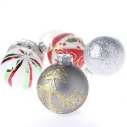 set of 12 retro look glass ball christmas ornaments