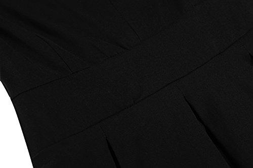 Acevog vestido vintage años 50 de manga corta con cuello V Negro