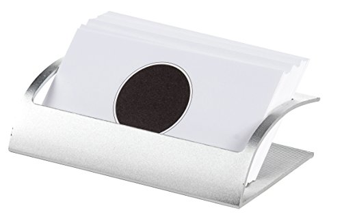 Name Card Holder – Aluminum Business Card Holder Organizer, Ideal for Desktop, Office, Silver, 4 x 2 x 1.3 inches