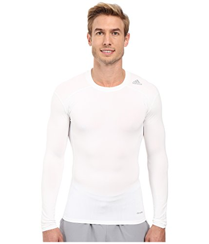 Adidas White Shirt (adidas Men's Techfit Base Layer Long Sleeve Tee, White, Small)