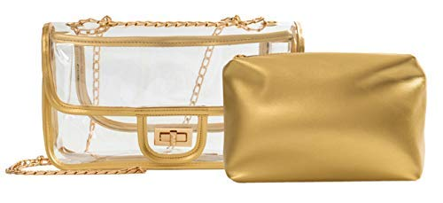 Gold Messenger Handbags Small - Clear Crossbody Bag for Women,The Transparent Tote bag with Chain Messenger Shoulder Handbag Purse for Stadium Approved Gold