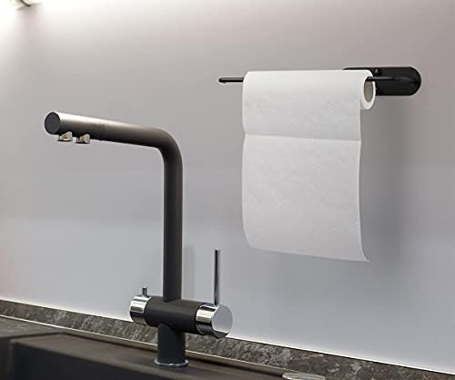Paper Towel Holder Wall Mount Under Cabinet, Durable Adhesive or Drilling for 13 Inch Long Paper Towels Rolls, for Kitchen and Bathroom, Black