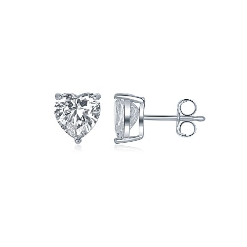 OMG Jewelry Sterling Silver 4mm Heart Shaped Cubic Zirconia CZ Stud Earrings with Silver Butterfly Pushbacks ()