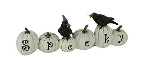 Things2Die4 Halloween Pumpkin Patch Wicked or Spooky Statue, White -