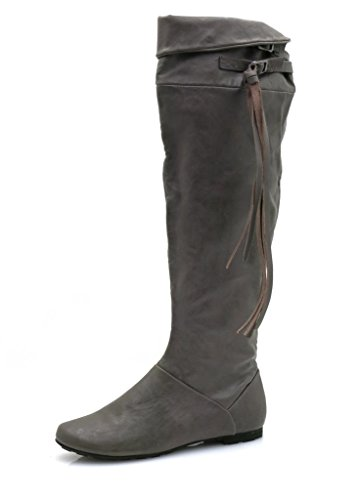 bottes à Femmes Bottes Bullboxer longues tiges bottes bottes Franges gris Top O0Ucwfq