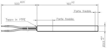 RESISTENZA CANDELETTA ACCENSIONE PER STUFA A PELLET 300W 160MM DIAMETRO 9,9MM