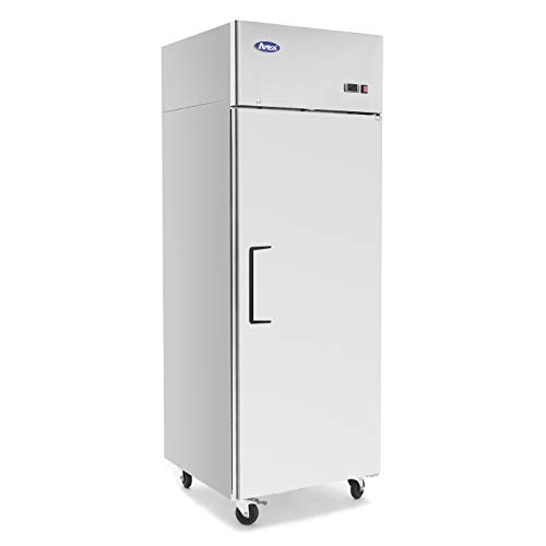 (Single Door Commercial Refrigerators, ATOSA Top Mount Stainless Steel Reach in Upright Refrigerator With 1 Solid Door for Restaurant - 21.4 cu.ft, 33℉-38℉, Air Cooled)