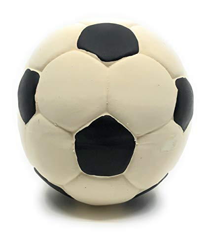 Large Rubber/Latex Soccer Ball Dog Toy 5 inches, Lead-Free & Chemical-Free. Complies to Same Safety Standards as Children's Toys. Soft & Squeaky. Great for Large Dogs.