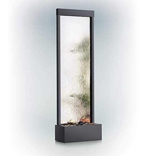 Alpine Corporation Mirror Waterfall Fountain with Stones and Lights - Zen Indoor/Outdoor Decor for Office, Living Room, Patio, Entryway - 72 Inches from Alpine Corporation