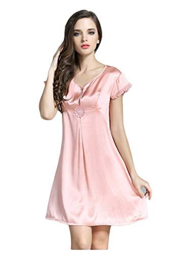 Elegante Verano De Dormir Mujer Respirable Colores Sólidos Camisones Fashionista Corta cuello Manga Camison Silk Ropa V Rosa Cómodo Sleepwear HEnqxR