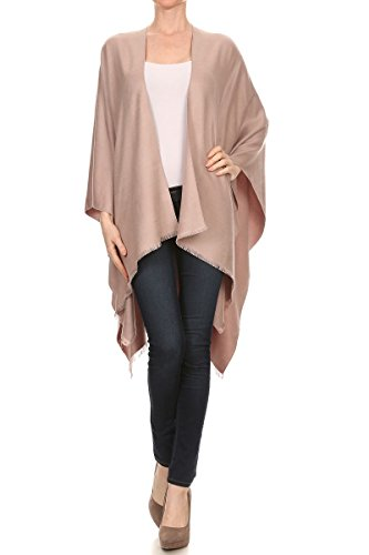 Reversible Cashmere Knit Scarf (LA12ST Women Winter Reversible Oversized Fleece Blanket Knit Poncho Cashmere Cape Scarf Coat Gardigan)