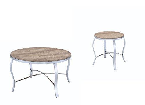 light oak coffee table set - 3