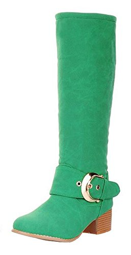 CHFSO Womens Stylish Solid Waterproof Fully Fur Lined Buckle Pull On Mid Block Knee High Knight Winter Boots Green LH9SJYTH