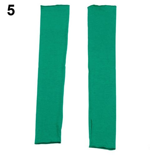 Aland Lady Fashion UV Sun Protection Arm Warmer Long Fingerless Cotton Gloves Sleeves Green