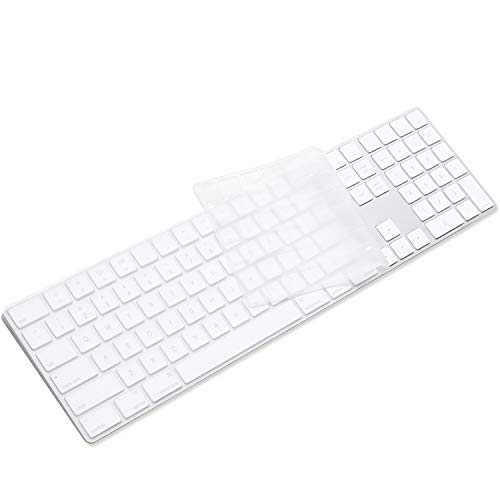 ProElife Ultra Thin Silicone Full Size Wireless Bluetooth Numeric Keyboard Cover Skin for 2017 Released Apple iMac Magic Keyboard with Numeric Keypad MQ052LL/A A1843 US Layout, Semi-Transparent Clear