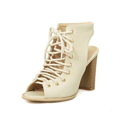 LvYuan sandalias de gladiador de primavera y verano caída comodidad del partido de la PU&noche atlética tacón grueso pie ocasional con beige