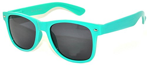 Classic Retro Vintage Smoke Lens Sunglasses Turquoise Frame -