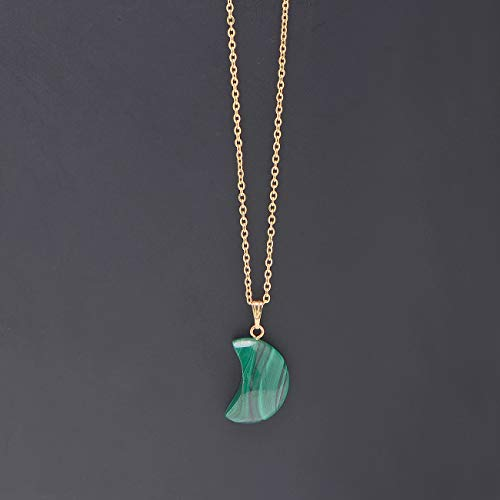 Natural Malachite Crescent Moon Pendant Necklace Yellow Gold Tone
