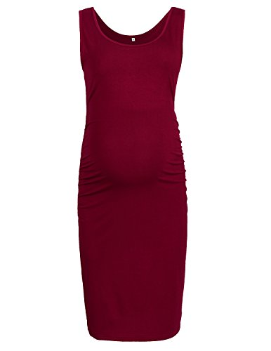 PrettyLife Maternity Tank Dress Side Ruched Sleeveless Scoop Neck Fitted Pregnancy Dress (Style 2 - Wine Red, Large) by PrettyLife