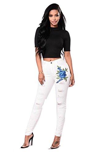 de Elástico Blanco ajustados bordado cintura mujeres a elástica Clásico pantalones vaquero Luckywe elástico ripeada Rasgada jean SwavZPZq