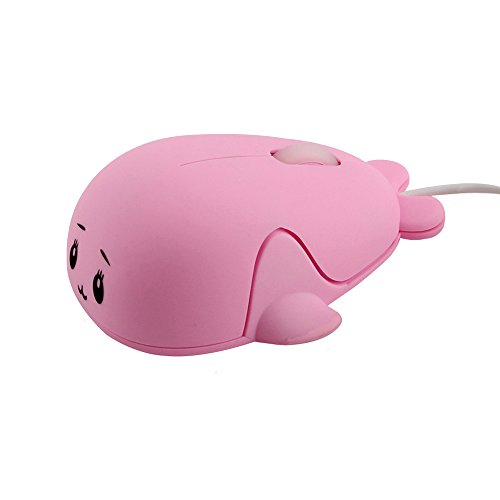 Pink Laptop Mouse (Fashionable Cute Baby Dolphin Shape USB Wired Mouse 1600 DPI Optical Gaming Mice Mini Small Kids Mice for PC Laptop Computer(Pink))