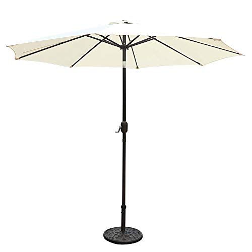 GOLDSUN Patio 9 Feet Market Outdoor Aluminum Table Patio Umbrella with Push Button Tilt and Crank (Beige) Review