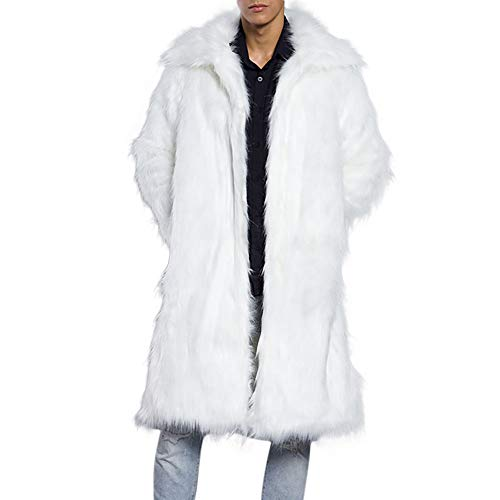 iZHH Mens Leopard Warm Thick Coat Collar Jacket Faux Fur Parka Outwear Cardigan(White,US-2XL) (Trench Coat Men With Fur Hood)