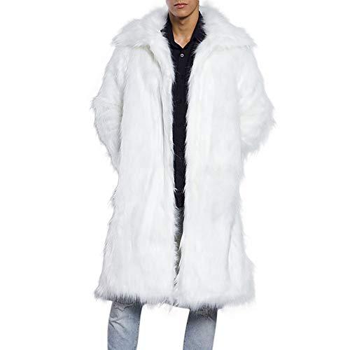 (iLXHD Men's Faux Fur Trench Coat Jacket Parka Thicker Warm Outwear Cardigan)