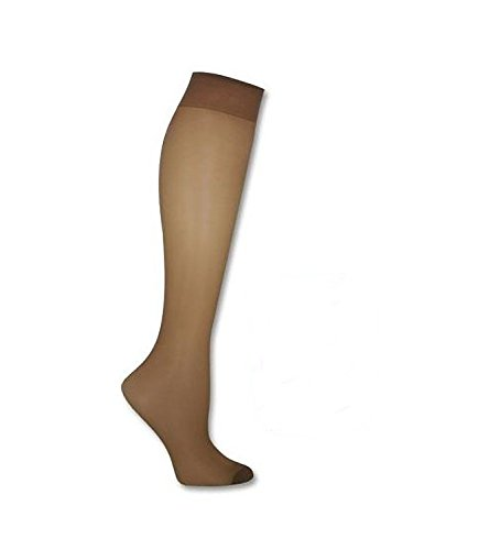 L'eggs Women's 10 Pair Everyday Reinforced Toe Knee Highs, Off Black, One Size