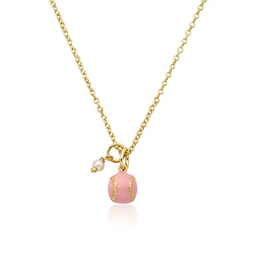 Little Miss Twin Stars Little Leagues 14k Gold-Plated Pink Enamel Baseball Necklace Accented with Pearl Dangle/ 14/2
