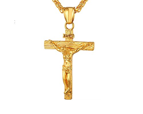 Crucifijo de Titanio Chapado En Oro Joyeria Fina de Hombre Moda 2018 Necklace Jesus Inri Piece Cross Pendant CA0035