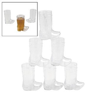 Cowboy Boot 2 oz. Shot Glasses, 12 per (Plastic Boot Mug)