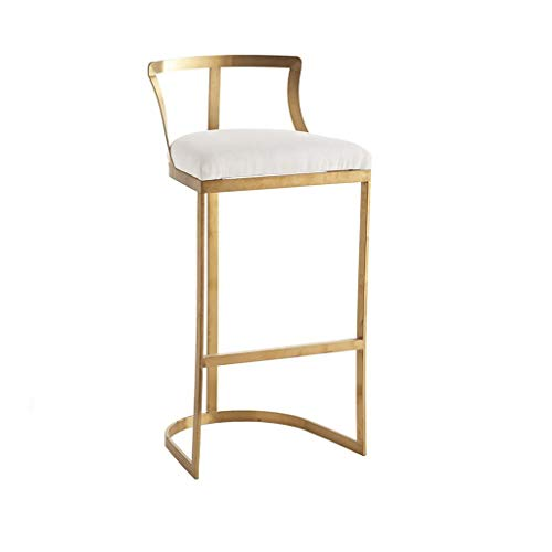 DQMS Bar Stool - High Stool, Backrest High Chair, Wrought Iron Bar Stool, Size: 65/75cm (Gold/Silver) (Color : Gold, Size : 65cm) (Gold Color Stool)