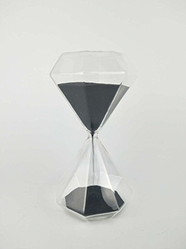 Black Urn Sand (jyq 6.7 Inch Puff Sand Timer/Hourglass 15 Minutes -Black Color Sand - Inspired Glass/Home, Desk, Office Decor (Black))