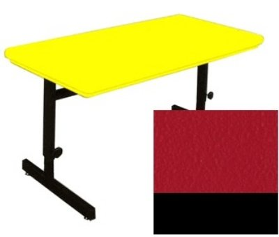 Correll RCSA3072 25 Computer Training Table w/ Blow-Molded Top, Adjusts to 29-in, 30 x 72-in, Red, Each