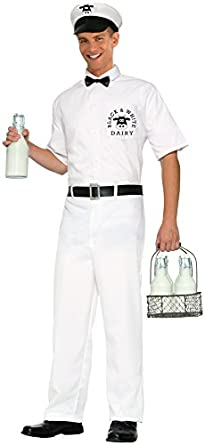 1950s Men's Clothing Forum Novelties Mens 50s Milkman Costume $18.03 AT vintagedancer.com