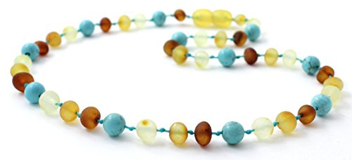 BoutiqueAmber Raw Amber Teething Necklace made with Turquoise Beads - Size 11 inches (28 cm) - Unpolished Multicolor Baltic Amber Beads (11 inches, Raw Multi/Turquoise)