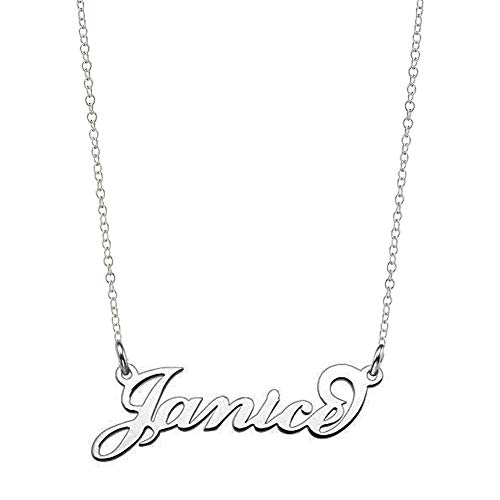 (Ouslier Personalized Name Necklace Cursive Font Made with Any Nameplate Pendant 16