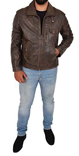 chiusura vintage chiusura uomo Giacca pelle stile marrone da in Lex con lampo 1w1qRp