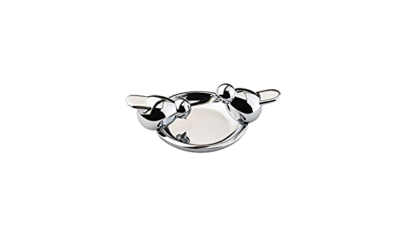 Vintage Bird Bath Ring Dish Holder for Jewelry Silver Chrome Metal