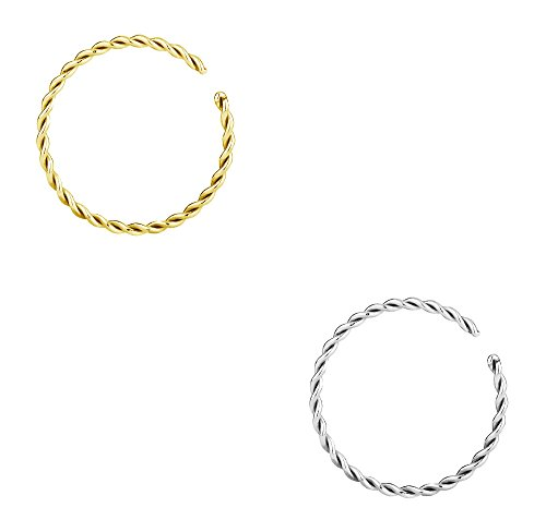 (Forbidden Body Jewelry Set of 20g 8mm (5/16 Inch) Gold IP Plated and Surgical Steel Braided Hoop Rings)