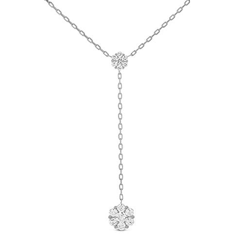 18K White Gold & Diamond Lariat Necklace | Designer Diamond Cluster Drop Necklace For Women | Adjustable Drawstring Chain Layering Jewelry ()