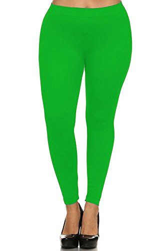 World of Leggings PLUS SIZE Basic Nylon Spandex Leggings Neon Green, One Size -