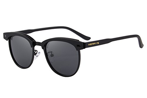 MERRY'S Semi Rimless Polarized Sunglasses Women Men Retro Brand Sun Glasses S8116 (Black, 48)