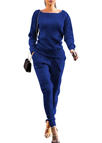 (Womens Fall Rib-Knit Pullover Sweater Top & Long Pants Set 2 Piece Outfits Tracksuit (Blue,)