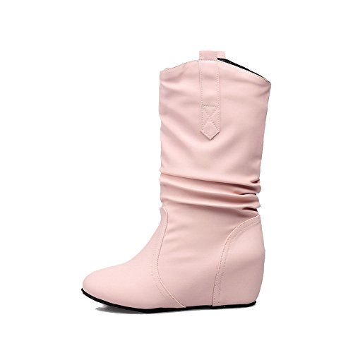 Allhqfashion Women's Solid Kitten Heels Round Closed Toe PU Pull-On Boots Pink U2uRuINPq4