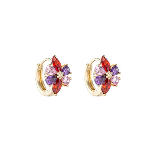 Dongstar Multi Color Petal Golden Frame Stud Earrings Premium Quality for Women (Multi Color - Gold)