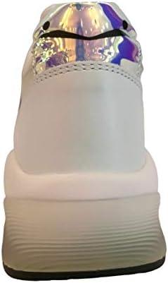 VOILE BLANCHE dumbil Vit/Pailettes cange Bianco/Lilla Sneaker Donna Pelle (37)